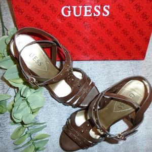 Guess Brown Leather Platform Strappy Sandals